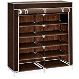 Best Choice Products 6-Tier Portable Home Organization Shoe Storage Rack Closet System for 36 Shoes w/ Fabric Cover and 6.5in Tall Shelves  Brown