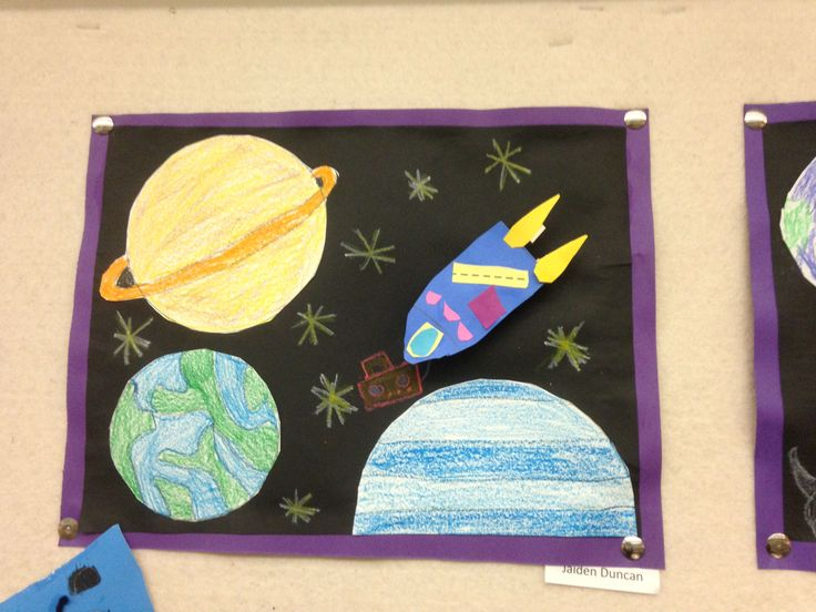 Outer space collage art projects by my students for Outer space project