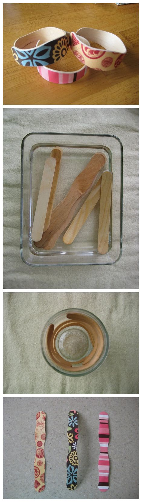 soak popsicle in water to soften, shape into bracelet, let dry, then decorate with paint, stamps, glitter, etc...