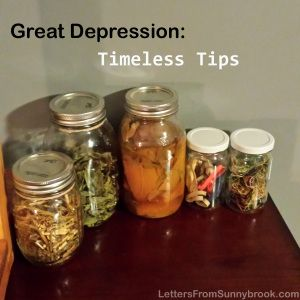 Tips and stories from the Great Depression on frugal living, cooking and keeping a positive attitude.