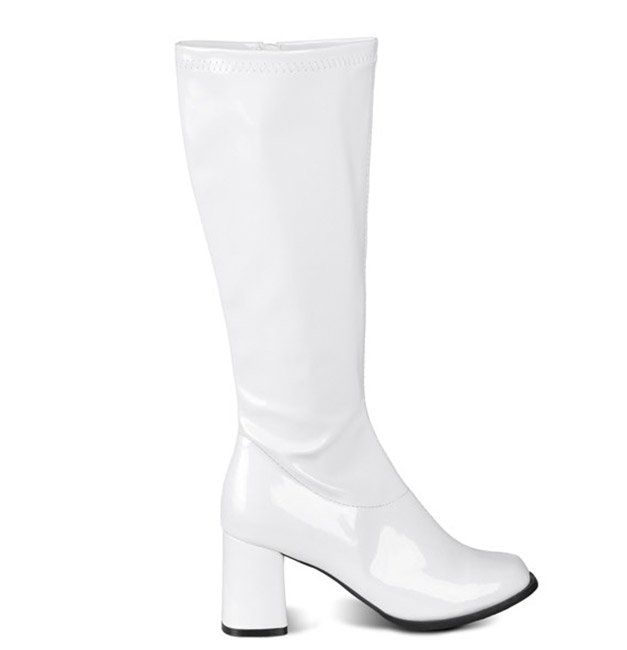 Wit gelakte laarzen met 8 cm hak voor dames online beschikbaar bij de meest gekende feestwinkel Vegaoo.nl aan een aanlokkelijke prijs.