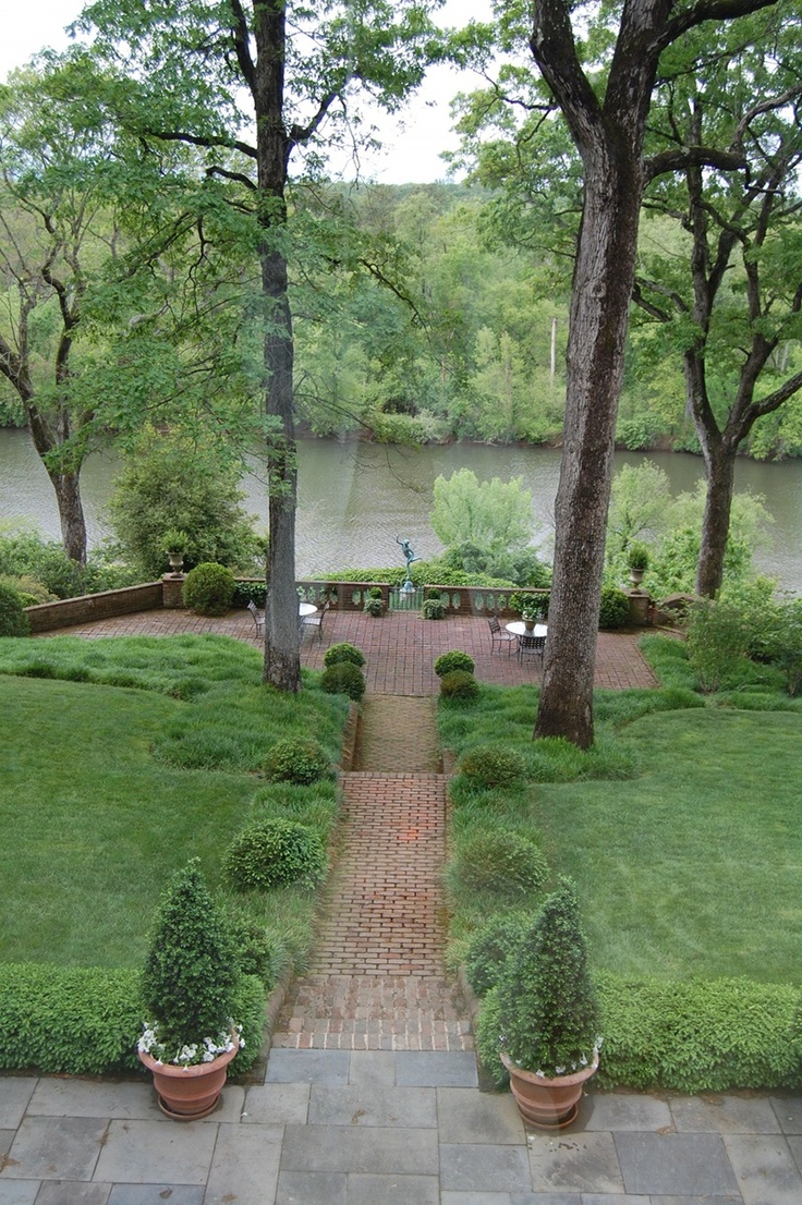 Stock photos backyard landscaping stone walkway images frompo - Another Charles Gillette Garden Along The James River Virginia