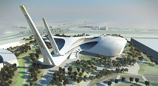 Incredible mosque in Education City, Qatar -- futuristic minarets rise high into the air slanted towards Makkah