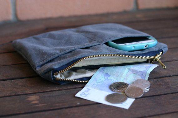 Воском полотно чехол на молнии - пенал - воском холст кошелек - холст бумажник воском - холщовый мешок - мужчины случай - воском хлопка кошелек