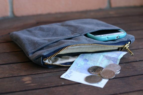 Waxed canvas zip pouch  pencil case by Creazionidiangelina