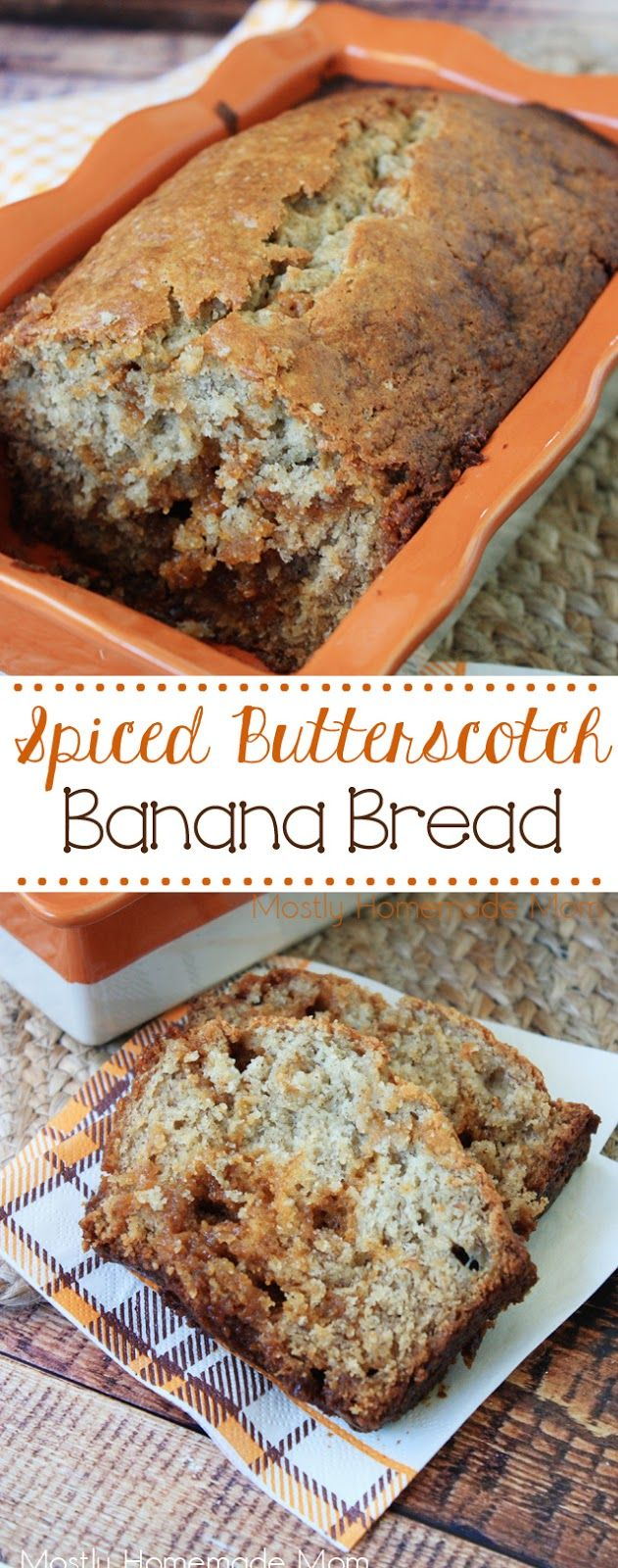 Spiced Butterscotch Banana Bread - makes two loaves! Delicious moist banana bread with cinnamon and allspice, and lots of butterscotch chips. Keep one and give one to a friend!