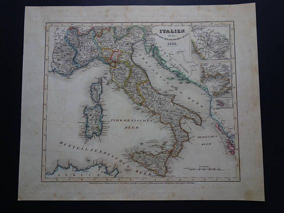 ITALY old map 1849 original antique hand coloured print of