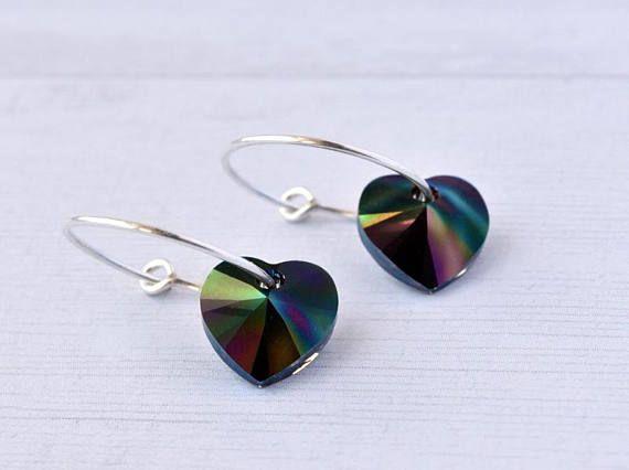 Silver Hoop Earrings  Rainbow Heart Earrings  Gift for Her #earrings #hearts #rainbow #handmade #silverjewellery