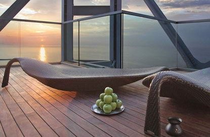 Outdoor Spa terrace on the 43rd floor of the Hotel Arts, overlooking the Mediterranean