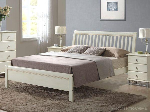 Кровать из массива 3601 с основанием, цвет - белый с патиной купить по доступной цене в интернет-магазине в Беларуси.