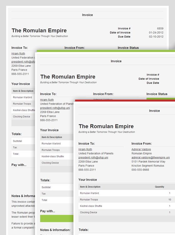 25-01-2013: responsive invoices: new, paid and late invoices, Invoice examples