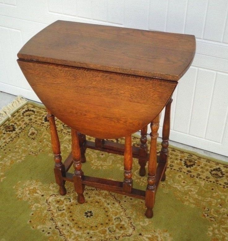Antique Small Size Drop Leaf Gate Leg Table Turned Legs