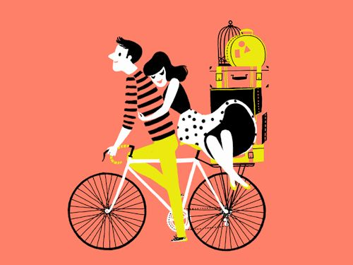 gif love Illustration couple girl dress design animation yellow Wind valentines day Peach Valentine's Day bike motion motion graphics i follow back bicycle gif animated double dribbble following back gif animation love day design blog following all design news Carolina Buzio design story