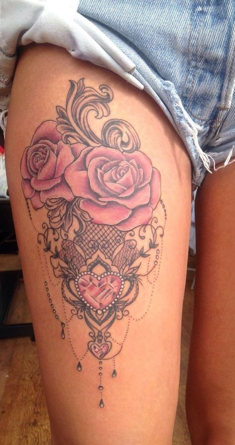 88057067e Cute Watercolor Rose Thigh Tattoo Ideas for Women - Chandelier Black Lace  Red Heart Side Tat - www.MyBodiArt.com
