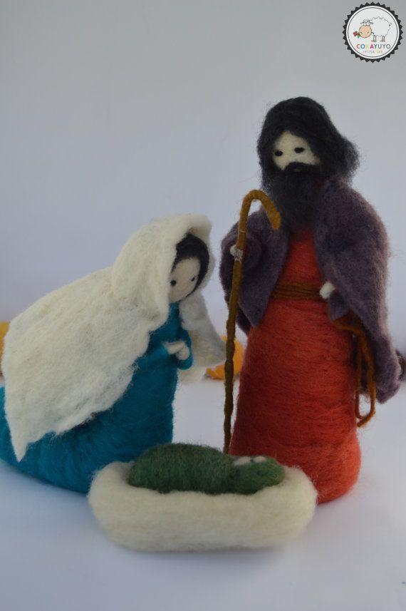 Needle felted Nativity 3 piece Natitvity by CoxayuyoArtesanias
