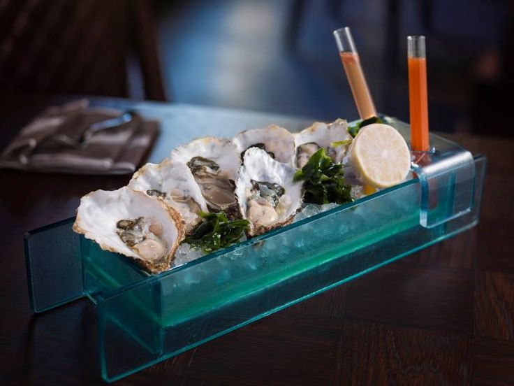 #Oyster #Dish with #Ice  Fresh and modern oyster dish designed by www.the-glass-co.com for The Rib Room, Dubai. Oysters are kept fresh in ice and has a special sauces presentation feature. Not your typical food presentation!
