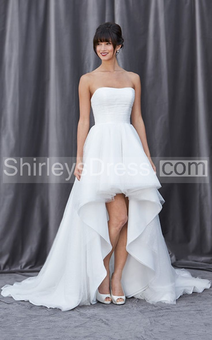 Captivating Strapless Pleated Bodice High-low Dress
