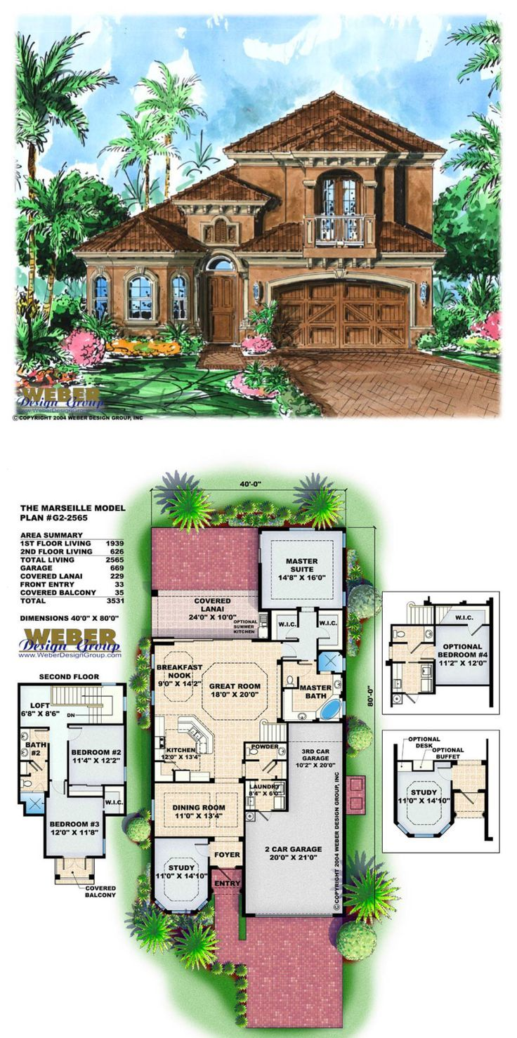 Mediterranean House Plan: 2 Story Tuscan Style Home Floor Plan ...