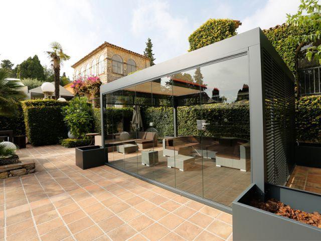 77 best Abri images on Pinterest Aluminum pergola, Backyard patio - store exterieur veranda prix