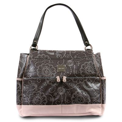 """Miche brought us  """"Allison, a Big Bag Shell... in that gorgeous charcoal grey with Heather Pink....  I love her!!!"""