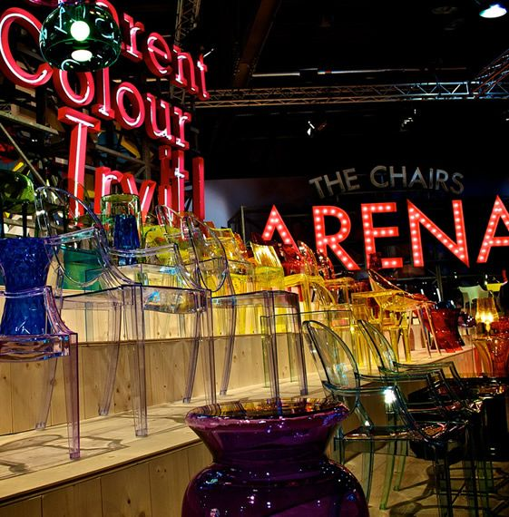 Kartell rolled out a vivacious homage to old-school Hollywood, glamour and celebration, with a product installation that was closer to Las Vegas' famed neon graveyard than a contemporary interiors display...