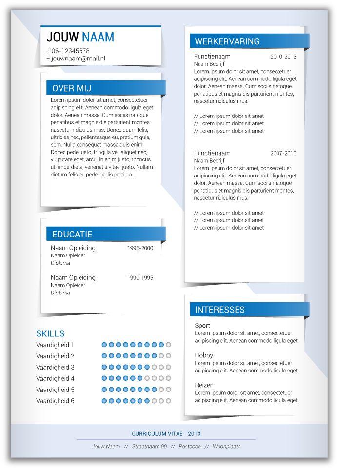 CV template 361. Volledig in Microsoft Word voor elke functie zelf aan te passen.