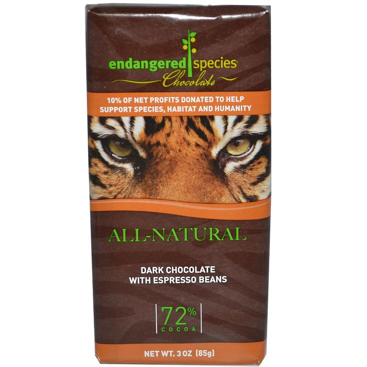 Endangered Species Chocolate, Dark Chocolate with Espresso Beans, 3 oz (85 g)  This is a great fix for my chocolate fix late night!