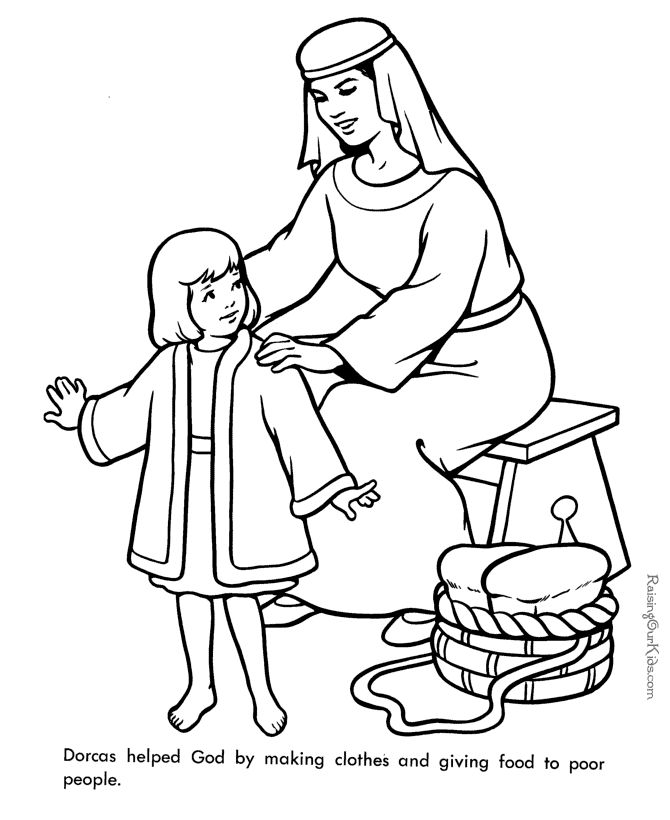 Dorcas - Bible page to print and color This goes well with the free Dorcas lesson at  http://missionbibleclass.org/1b0-new-testament/new-testament-part-2/acts-the-church-begins/dorcas-is-raised-from-the-dead/