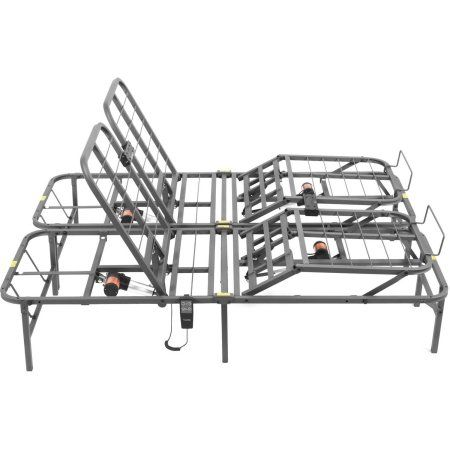 """Pragmatic 14"""" High Profile Dual Adjustable Steel Bed Frame with Under-Bed Storage, Easy No Tools Assembly, Multiple Sizes"""