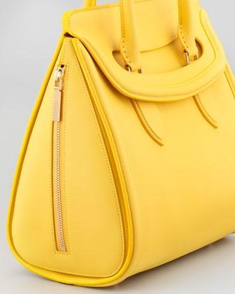 Alexander McQueen Heroine Medium Leather Satchel Bag, Yellow - Neiman Marcus