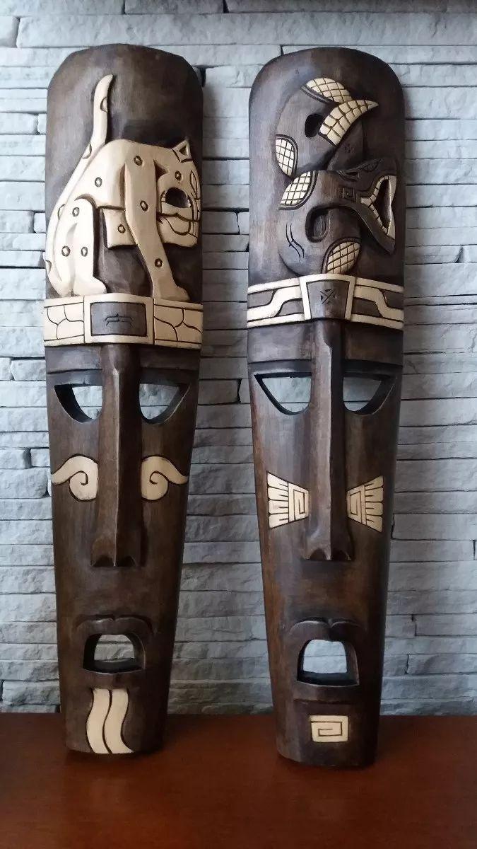 máscaras decorativas em madeira maciça maias trazidas do méx