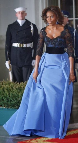 Michelle Obama in an outstanding Carolina Herrera gown in 2014