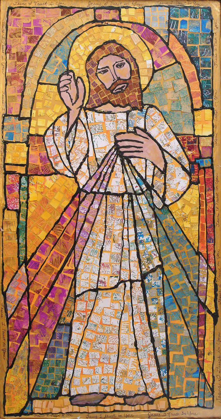 Divine Mercy image created by artist Carol Cole and the first graders at Spiritus Sanctus Academy. The original Painted Paper Mosaic Collage was donated to the school auction to benefit Catholic Education.  Prints, framed prints, cards and more are available on FineArtAmerica.com