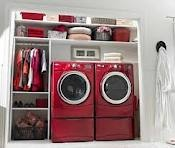 definitely want a separate utility room space for washer, dryer, sink, ironing board, shelves for baskets and washing line airer only in purple