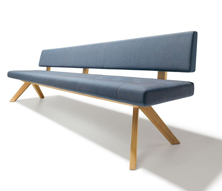 high back dining bench shown in blue upholstery fabric and