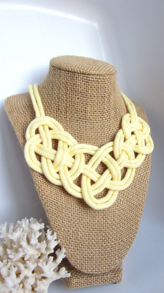 Sailor Knot Bib Necklace Yellow Collar by KnottinghamDesigns