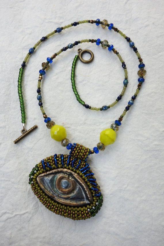 Protection  Polymer Clay Evil Eye Necklace by PhantasmCreates