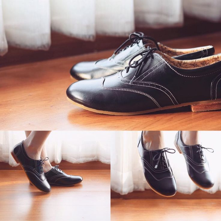 Black oxford flats. SolSmile/Diariez are now taking special orders for leather soles on their Oxfords! (Yay! if you're a dancer) High quality hand made to order, genuine leather upper, inner and outer. $150 (Australian), ships internationally. Shop at solsmile.com.au. (email to order special leather soles) Oxfords, Lindy Hop, Swing, dance shoes, Retro, two-tone