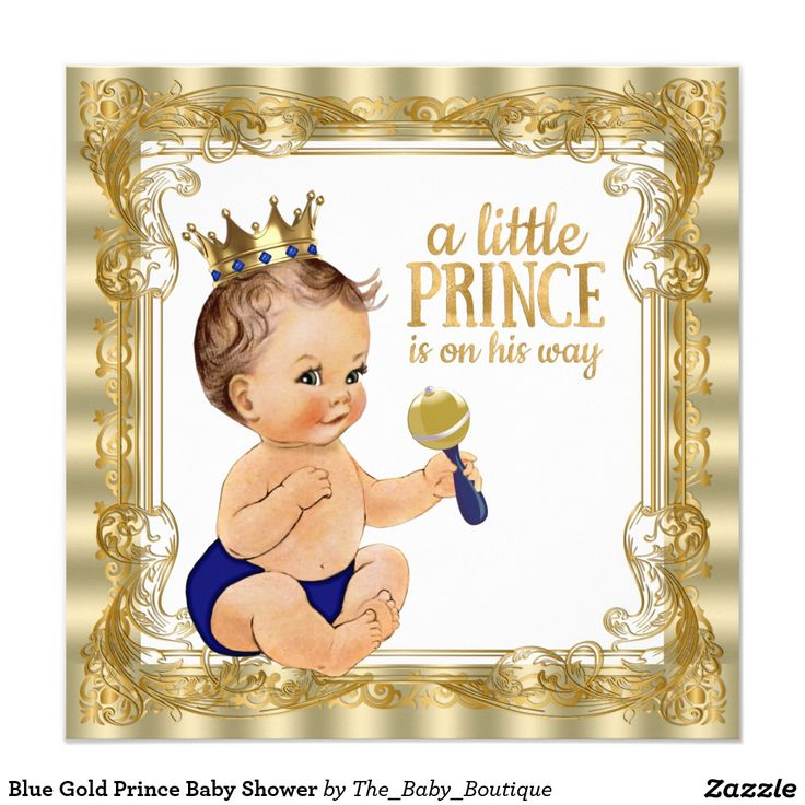 Blue Gold Prince Baby Shower Invitation