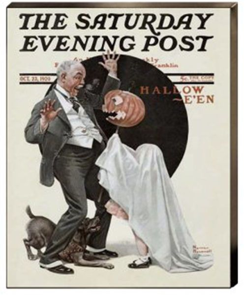 Halloween Norman Rockwell Grandfather Jack-o-lantern Canvas Giclee Print 22x16…Halloween (Grandfather Frightened by Jack-O-Lantern) Canvas Giclee Print  Museum Wrapped Stretched Canvas Ready to Hang With or Without Additional Framing