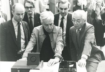 Sony President Akio Morita and Herbert von Karajan introducing the compact disc in Salzburg in 1982 or 83
