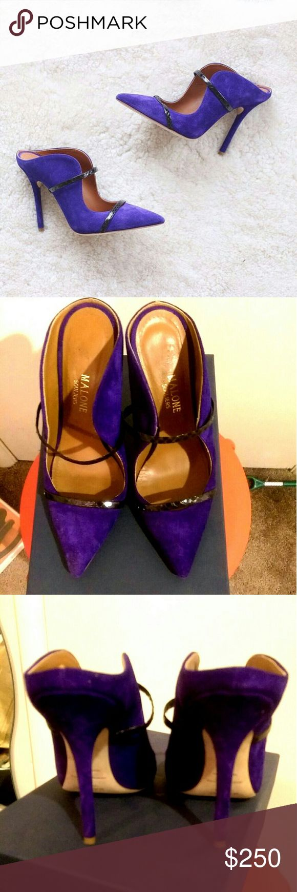 """Size 8 Purple Malone Souliers Maureen Size 8(38), purple suede, all around genuine leather, 4"""" heels, gorgeous open back stilletos. Worn only twice, little too high for me. Malone Souliers Shoes Heels"""