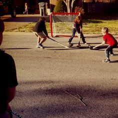 STREET HOCKEY!!!  A Canadian staple.  We only stopped playing when a car was passing through or our moms called us for dinner. There were times when we played until dusk (9:30 pm during the summers).