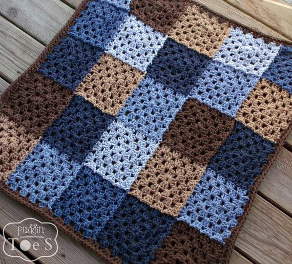 An adorable crochet baby blanket in shades of blue and brown. Lovely patchwork blanket for a baby boy nursery. I crochet this granny square baby