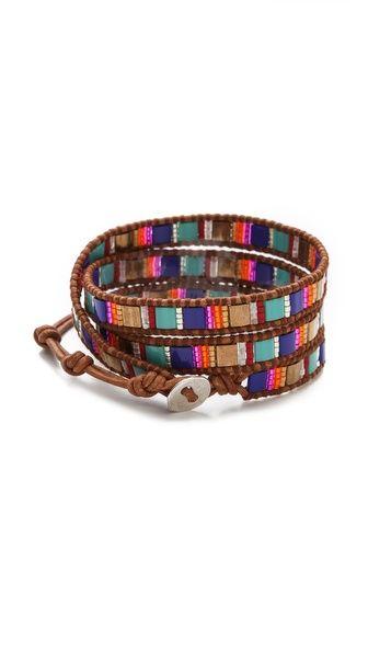 Chan Luu Wrap Bracelet - square 2-hole beads + seed beads