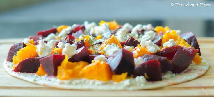 Tortizza met rode biet, pompoen en geitenkaas | Freud and Fries