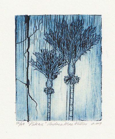 Nikau, print bamboo etching, 2009 Andrea Mae Miller exhibition kura art gallery new zealand
