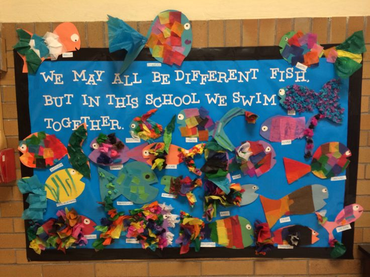 Diversity bulletin board, get residents to make the fish and make it summer themed! #flsouthernra