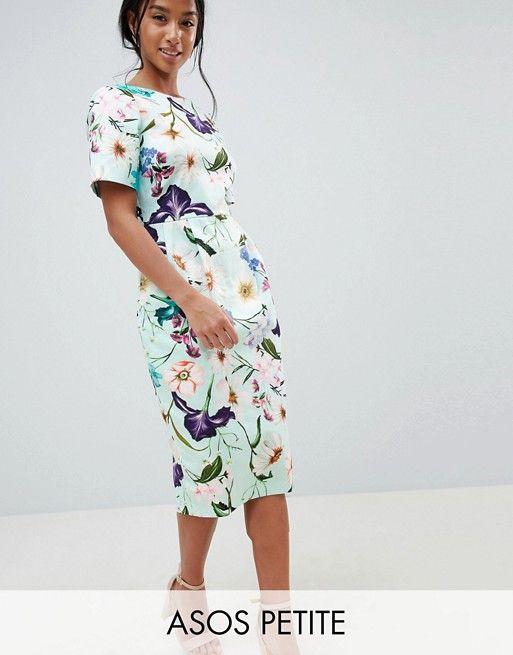 6232a43cf ASOS Petite | Vestido midi con movimiento y estampado floral de ASOS DESIGN  Petite