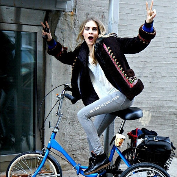 Cara Delevinge  after @dkny pr girl show #NYFW #AW12